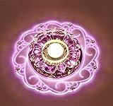 Kristall Deckenleuchte,Moderne LED Kristall Deckenleuchte,Kristall Deckenlampe Geeignet für den Einbau in Fluren, Vorraum, Küche, Bad, Schlafzimmer (Rosa Color)