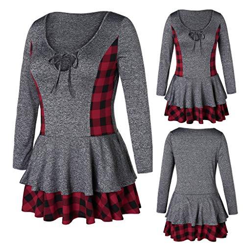 IMJONO Tops T Shirt Bluse Frauen Patchwork Plus Size Plaid Layered Lose Langarmbluse Tops T-Shirt(XX-Large,Grau)