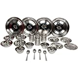 Royal Sapphire Stainless Steel Dinner Set 24 Pcs,Silver