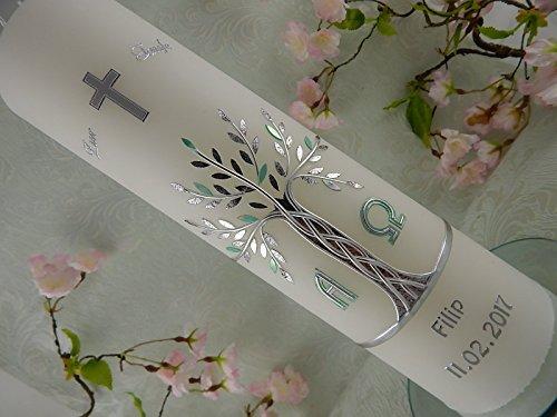 80 Symbol (Taufkerze Lebensbaum silber christlich Symbole Taufkerzen Junge Mädchen 300/80 mm mit Name und Datum)