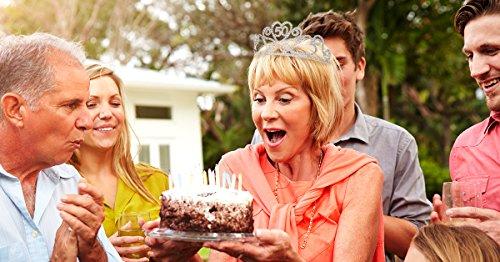 SWEETV Espumoso Aniversario Fiesta de Cumpleaños Tiara Diadema Rhinestone Fiesta Corona Tocado, 50 Cincuenta