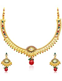 YouBella Jewellery Gold Plated Necklace Jewellery Set With Earrings For Girls/Women