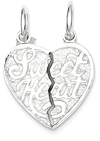 IceCarats 925 Sterling Silver Sweet Heart 2 Piece Break Apart Heart Necklace Pendant Charm