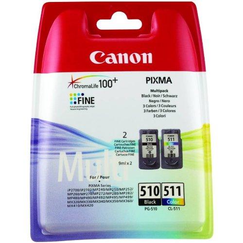 Canon PG-510 y CL-511 - Juego de cartuchos de tinta para impresora Canon Pixma de las series iP, MP y MX (2 unidades, negro y color)