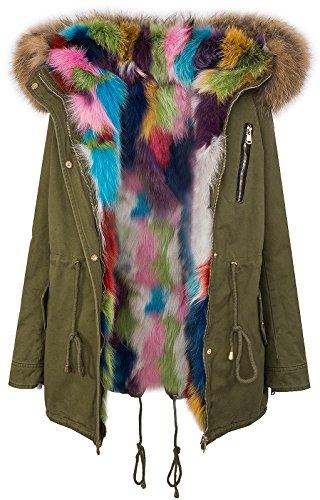 Designer damen parka damenjacke winter jacke echtpelz kapuze gefüttert D-255 S-XL Khaki-Grün