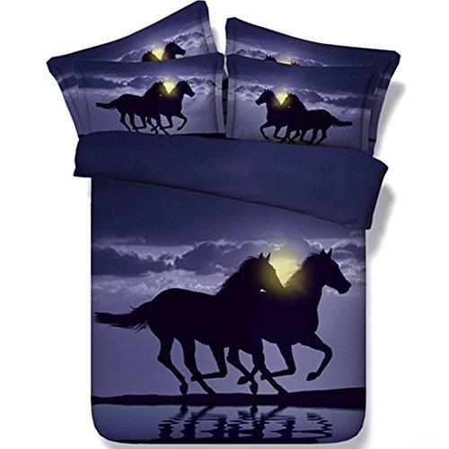 alicemall Pferd Bettwäsche Pferd Digital beddingrunning Pferd Home Textil 4-Teilig Baumwolle Bettbezug Set, Twin/Full/Queen/King US Größe, schwarz, King Size