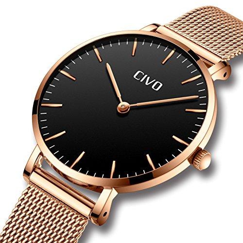 CIVO Damen Uhren Ultra Dünn Silm Minimalistisch Damenuhr Wasserdicht Kleid Armbanduhren Luxus Beiläufig Edelstahl Mesh Quarzuhr für Frau Lady Teenager Mädchen (Gold/Schwarz)
