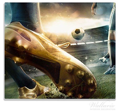 Wallario Herdabdeckplatte/Spitzschutz aus Glas, 1-Teilig, 60x52cm, für Ceran- und Induktionsherde, Fußball Goldschuh auf Dem Feld (Drucken Fußball-feld)