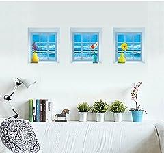Idea Regalo - 3pcs/ set Scena Finestra in 3d rimovibile, adesivi da muro per camera da letto, soggiorno spiaggia oceano di fondo