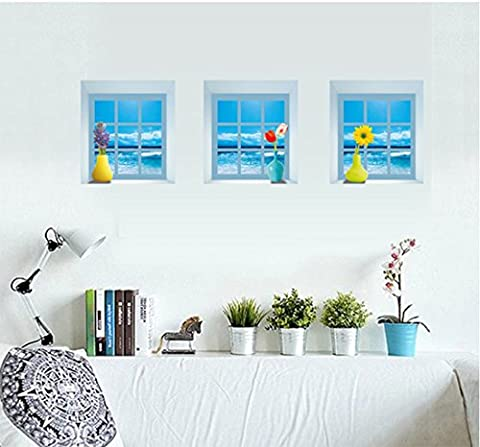 3 Pcs/set Window Scene Removable Wall Art Stickers for Bedroom
