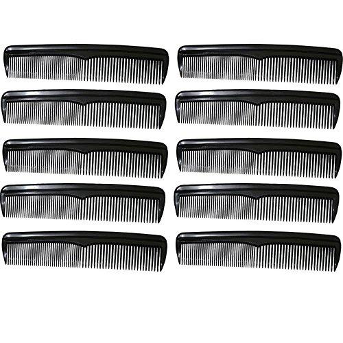 com-four® 10x Haarkamm, fein- und grobgezahnter Frisierkamm, handlicher und robuster Taschenkamm (10 Stück - schwarz)