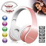 Over Ear Kopfhörer, Bluetooth Faltbare Kopfhörer mit Eingebautem Mikrofon/ FM Radio /MP3 Player Wireless Headsets für Mädchen Frauen Kompatibel mit iPhone Android PC und andere Bluetooth rosé-gold