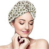 Serviettes Enveloppantes à Cheveux à séchage Rapide Turban, Style Doodle - Fleurs et Feuilles ornementales - Arabe Ethnique - Tourbillons - Tige, Bonnet de Douche Absorbant