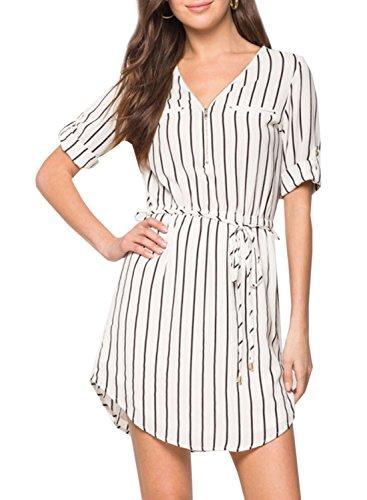 ACHICGIRL Women's Striped V Neck Tie Waist Dress White