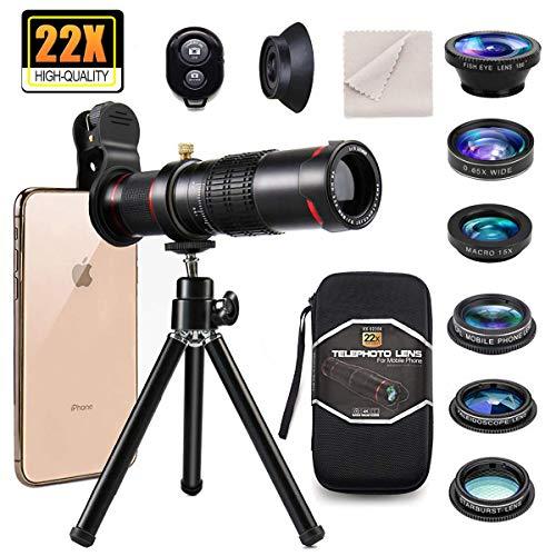 9 in 1 Kit obiettivo telefono, clip su smartphone teleobiettivo 22X, obiettivo grandangolare, obiettivo macro, obiettivo fisheye, 3 filtri, treppiede,...