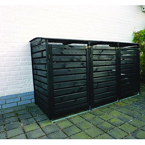 Holz-Mülltonnenbox Vario III für 3 Tonnen Mülltonnenverkleidung, Farbe:Anthrazit
