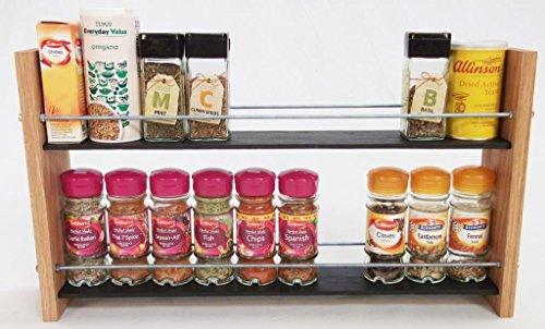 Design en Chêne massif et Ardoise.. Épice/Présentoir pour plantes.. 2 Niveaux, 20 pots - Style moderne contemporain - Étagères profondes pour les larges bocaux d'épices, boîtes, pots Kilner