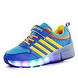 Aizeroth-UK LED Lumières Clignotant Couleur Changeant Chaussures à roulettes Multisports Outdoor 7 Couleurs LED Colorés Gymnastique Sneakers avec Rouleau de Garçon et Fille