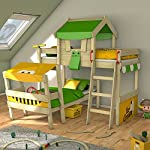 WICKEY Twin Bed Crazy Trunky Bunk Bed Childrens Bed for 2 Kids in Oblique Design with slatted Bed Base, appplegreen-Yellow