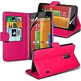 ( Hot Pink ) Motorola Moto G Leder-Mappen-Schlag Standplatz-Fall-Haut-Abdeckung Mit-Schirm-Schutz-Schutz By i-Tronixs