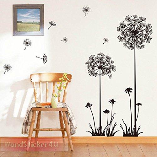 wandsticker4u-vinilos-decorativos-enorme-diente-de-len-negro-y-danza-en-la-lluvia-negro-130x100-cm-a