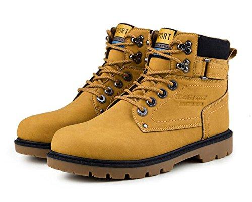 Brinny Herren Stiefeletten Worker Boots Outdoorschuhe Schnürstiefel Gelb