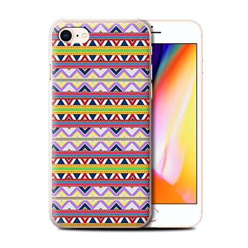 Stuff4 Hülle / Case für Apple iPhone 8 / Grün/Rot Muster / Aztekische Stammes Muster Kollektion Lila/Rot