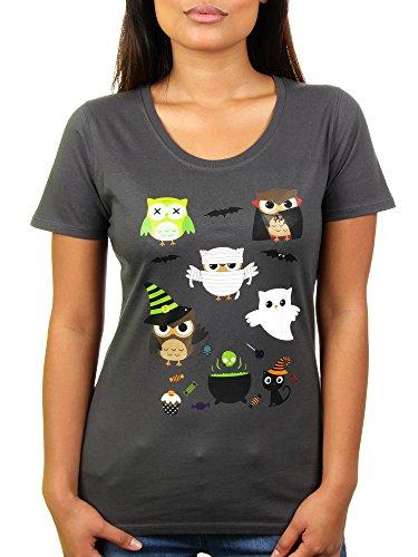 Halloween Owls - Damen T-Shirt von Kater Likoli, Gr. L, (Kostüm Meme Party Internet)