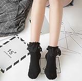 JXY Ladies Girls Princes Vintage Socken Baumwolle Spitze Socken Frilly (schwarz) -