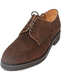 e4fd22399f0 Berwick Zapatos de Cordones con Pala Lisa de Piel de Ante de Becerro Color  Marrón Oscuro