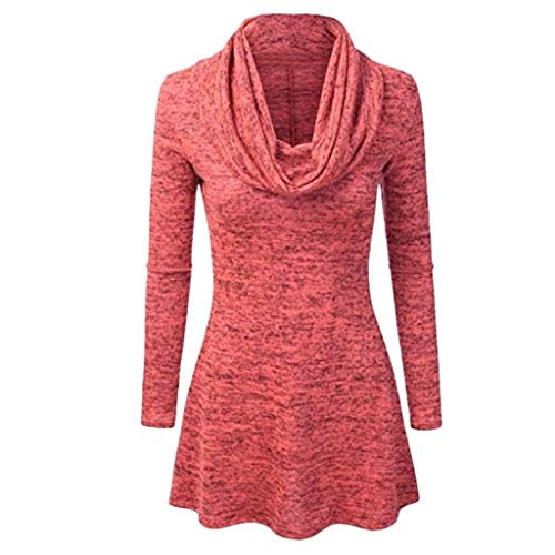 QIMANZI Sweatshirt Damen, Frauen Pullover T-Shirt Lose Beiläufig RollkragenSolide Tunika Oberteile Lange Ärmel Hemden Herbst TopsBluse(Rot,2XL) -