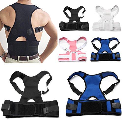 Geradehalter,CAMTOA Neopren Rücken Schulter verstellbar atmungsaktiv Rückenbandage Rückenhalter Haltungskorrektur für Damen und Herren zur eine richtige Körperhaltung S/M/L/XL/2XL Schwarz L