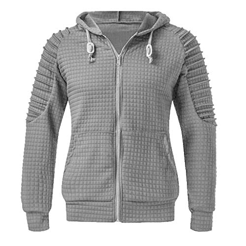 Xmiral Herren Sweatshirt Top Herbst Langarm Plaid Hoodie Mit Kapuze T-Shirt Outwear (XL, X Grau)