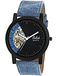 RELISH RE-S8121BB Black Slim Analog Watches For Men's And Boy's