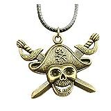 Fashion Antik Bronze Farbe 45* 34mm Piraten Totenkopf mit Schwert Anhänger Leder Kette Halskette