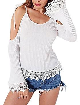 Jiayiqi Mujer Negro Malla Camiseta Elástica Clubwear Con v Cuello v Espalda