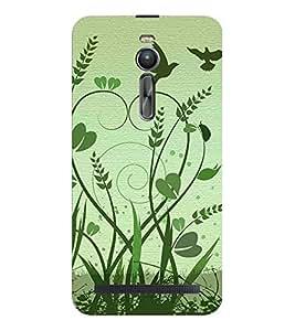 HiFi Designer Phone Back Case Cover Asus Zenfone 2 ZE551ML :: Asus Zenfone 2 ZE550ML ( Green Birds Flying Grasss )