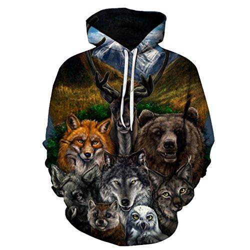 3D Tier Gedruckt Hoodies Männer Frauen Sweatshirts Bär Wolf Eule Fuchs Pullover Neuheit Trainingsanzüge Mode Lässig Mit Kapuze Streetwear LMS048 L