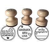 """Stempel 3er Set """"Mit Liebe handgemacht, 100 % Homemade und Handmade with Love, 3 cm Durchmesser, Holzstempel"""