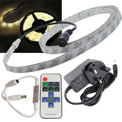 1000 Rf Kit (JnDee™ Warmweißer dimmbarer LED-Klebestreifen, wasserdicht, 1 Meter mit Transformator/Netzteil und kabellosem RF-Dimmer/Blinker mit Fernbedienung, komplettes Kit)