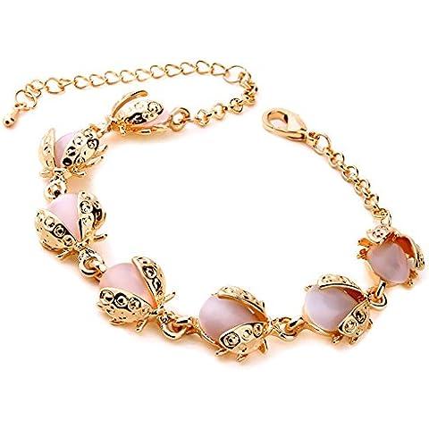 El Encanto Opal pulsera pulseras de oro para las mujeres. El escarabajo forma