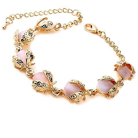 Der Charm Opal Armband Gold für Damen. Die Käfer Armbänder Form