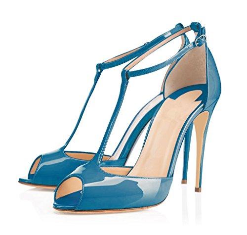 EDEFS Damen T-Spangen Pumps Stiletto Heels Knöchelriemchen Schuhe mit T-Strap Blue