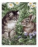Wowdecor Malen nach Zahlen-Kit für Erwachsene und Kinder, Motiv: Katze, Hase, Gänseblümchen, 40,6 x 50,8 cm Frameless