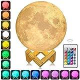 3D - Mondes Licht, 16 Farbe Führte Mondlicht Fernbedienung Kontrolle Der Stufenlosen Dimmen Rgb - Tabelle Mit Lampe Holz - Installation.Geeignet Für Zu Hause An Gänge, Hallen Usw. (Elfenbeinweiß)