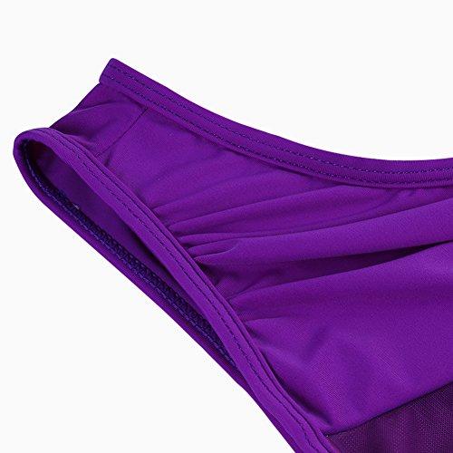 FeelinGirl Damen One Shoulder Badeanzug - Einteiliger Mit Asymmetrischer Schulter Einteilige Gaze Badebekleidung Bikini Set Lila