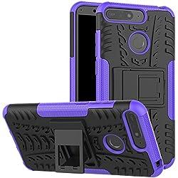 Funda Huawei P Smart, XINYUNEW 360 Grados Protective+pantalla de vidrio templado Caso Carcasa Case Cover Skin móviles telefonía Carcasas fundas para Huawei P Smart-Púrpura