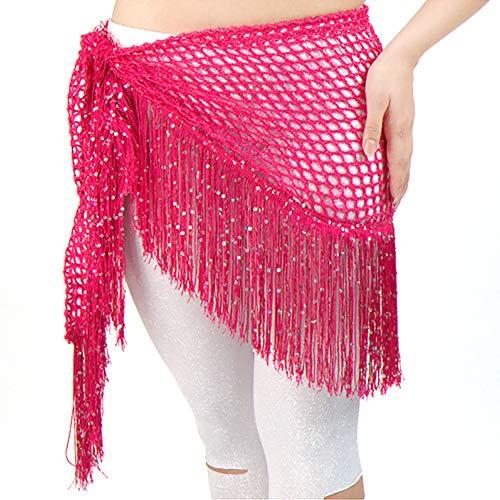 Acqrobe Damen Bauchtanz Hüfttuch Tanzen Kostüme Gürtel Pailletten Quasten Tanzen Taille - Arabisch Tanz Kostüm