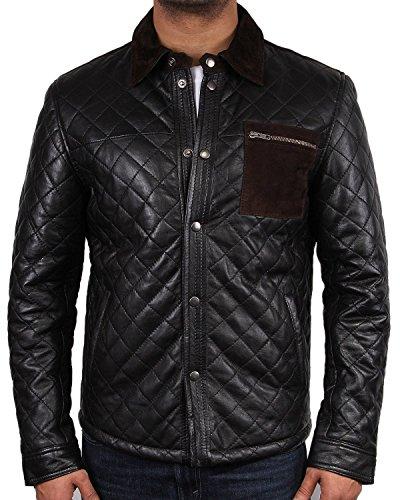 Veste style motard en cuir vintage pour homme modèle de transformation en cuir avec blouson veste manteau chemise design-bilderpalette beiläufiges été. Noir - Noir