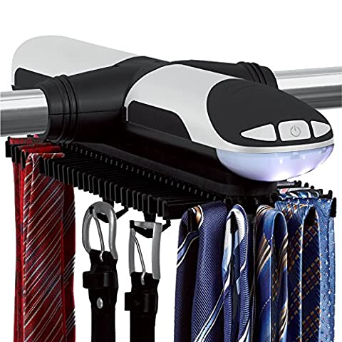 Sterline Automatic Motorized Revolving Tie and Belt Rack with Built in LED Light, Holds 72 Ties and 8 Belts, Batteries are included